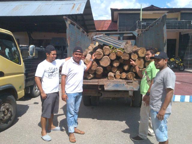 Inilah kayu hasil illegal loging yang diamankan Polres Belu.