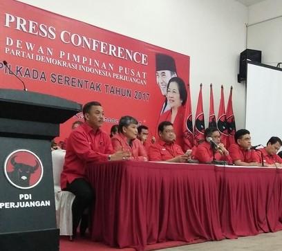 Jumpa pers DPP PDI Perjuangan terkait dukungan ke Ahok-Djarot maju pilkada DKI Jakarta.