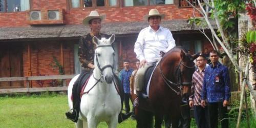 Presiden Jokowi dan Prabowo berkuda di Hambalang.