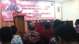 Bupati Malaka ketika menyampaikan sambutan di hadapan warga Malaka di Jakarta.