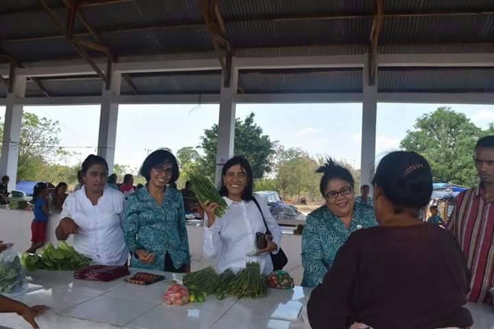 Istri Bupati dan Wabup Kupang ketika belanja di Otan, Semau.