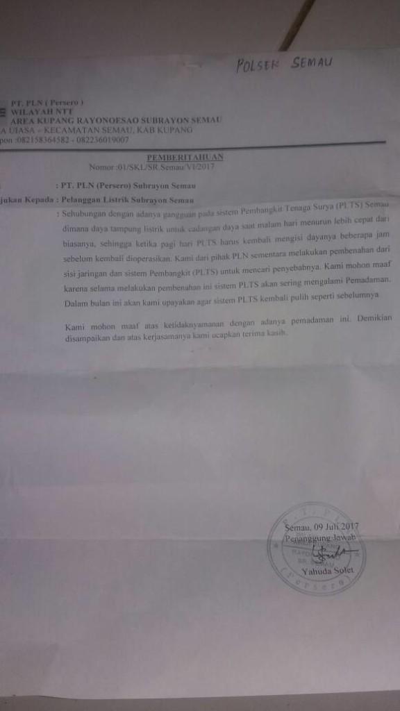 Surat dari PLN.